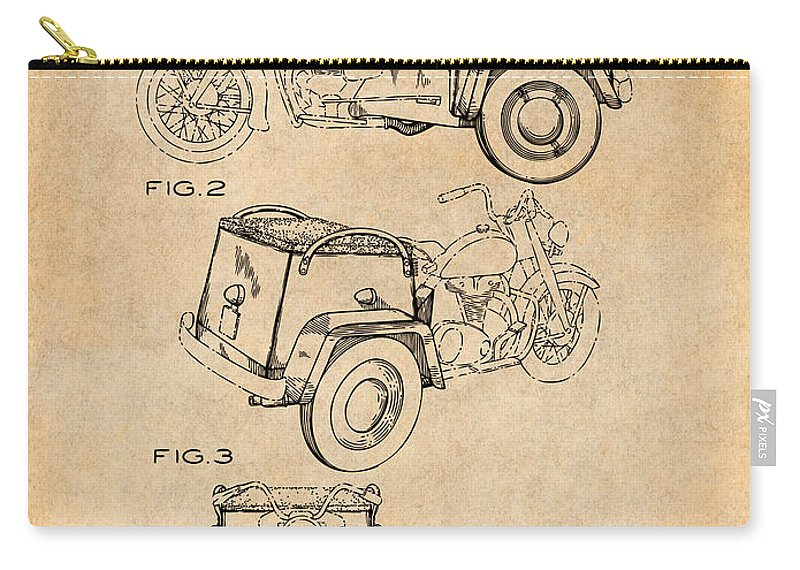 1952 3 Three Wheel Motorcycle Patent Print Carry-all Pouch featuring the drawing 1952 3 Three Wheel Motorcycle Antique Paper Patent Print by Greg Edwards