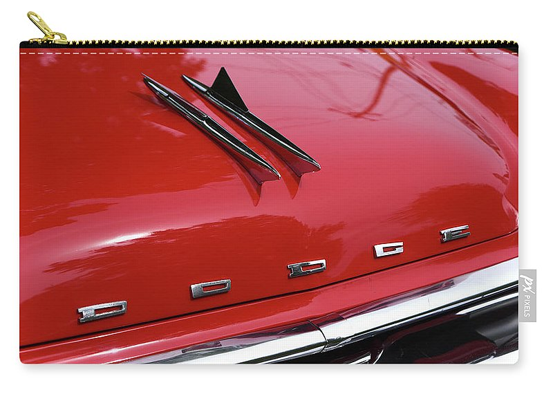1957 Carry-all Pouch featuring the photograph 1957 Dodge Coronet Bonnet by Mike Martin