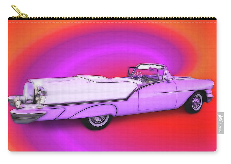 1957 Oldsmobile 98 Starfire Carry-all Pouch featuring the digital art 1957 Oldsmobile 98 Starfire by Rick Wicker