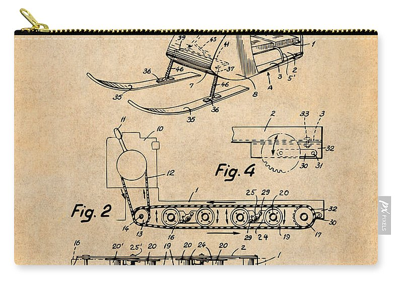 1960 Bombardier Snowmobile Patent Print Carry-all Pouch featuring the drawing 1960 Bombardier Snowmobile Antique Paper Patent Print by Greg Edwards