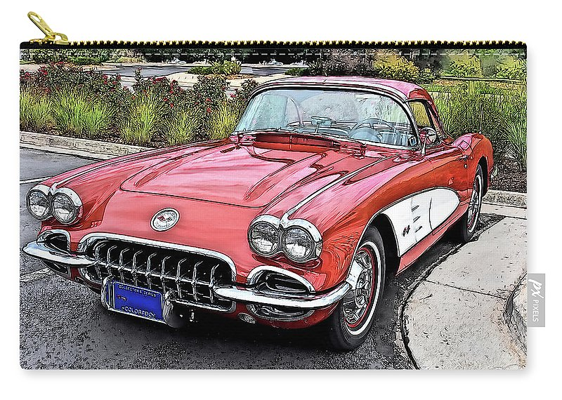 1960 Chevrolet Corvette Vintage Auto Automobile Carry-all Pouch featuring the drawing 1960 Chevrolet Corvette by Jonathan Broyles