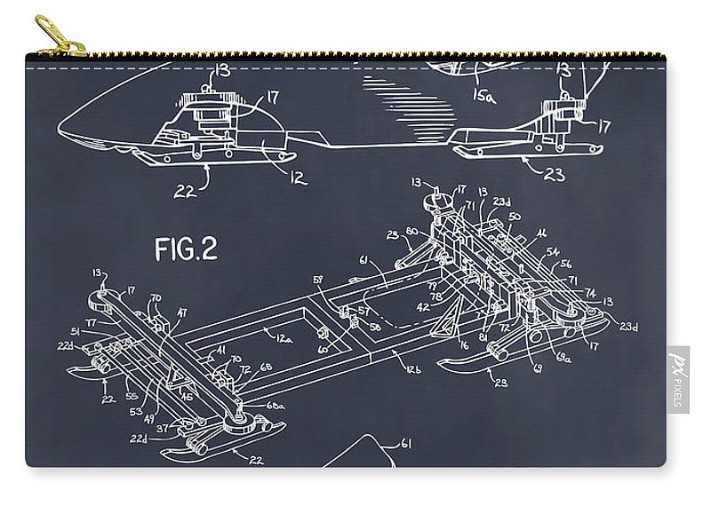 1982 Bobsled Patent Print Carry-all Pouch featuring the drawing 1982 Bobsled Blackboard Patent Print by Greg Edwards
