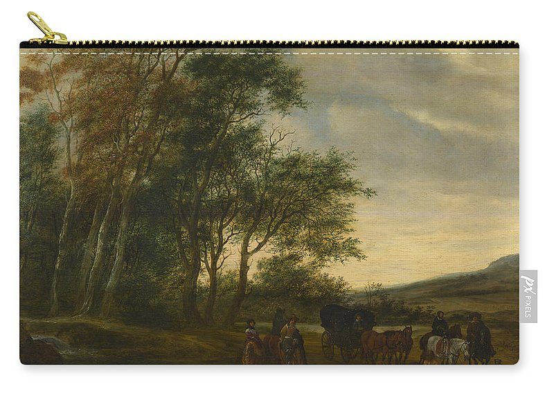 Salomon Van Ruysdael Carry-all Pouch featuring the painting A Landscape With A Carriage And Horsemen At A Pool by Salomon van Ruysdael