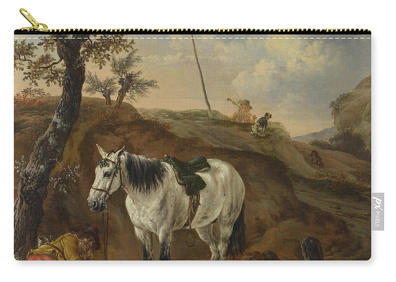 Pieter Verbeeck Carry-all Pouch featuring the painting A White Horse Standing By A Sleeping Man by Pieter Verbeeck
