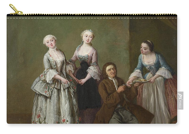 Pietro Longhi Carry-all Pouch featuring the painting An Interior With Three Women And A Seated Man by Pietro Longhi