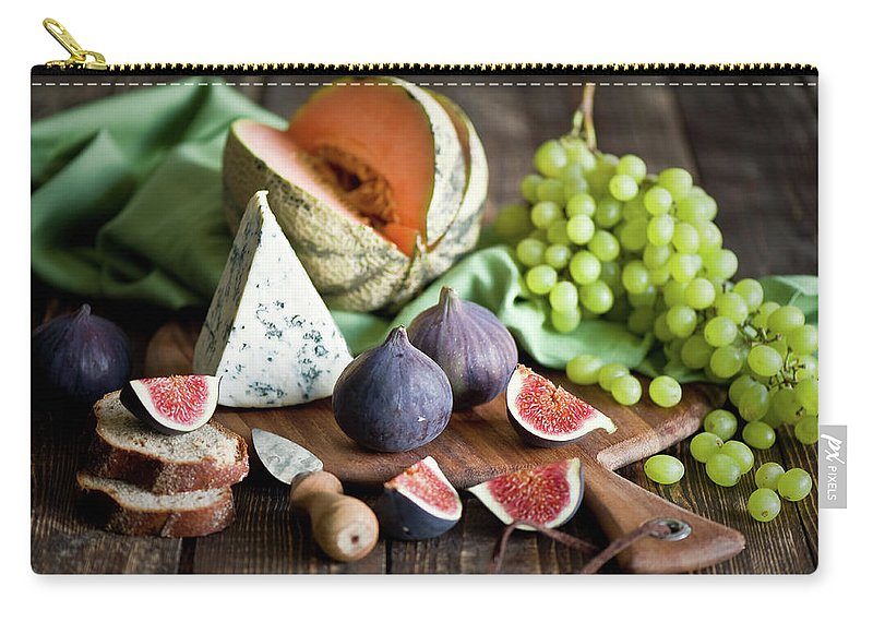 Large Group Of Objects Carry-all Pouch featuring the photograph Cheese Board by Verdina Anna