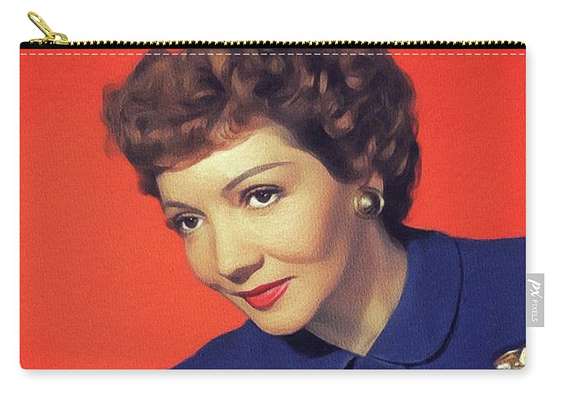 Claudette Carry-all Pouch featuring the painting Claudette Colbert, Vintage Movie Star by John Springfield