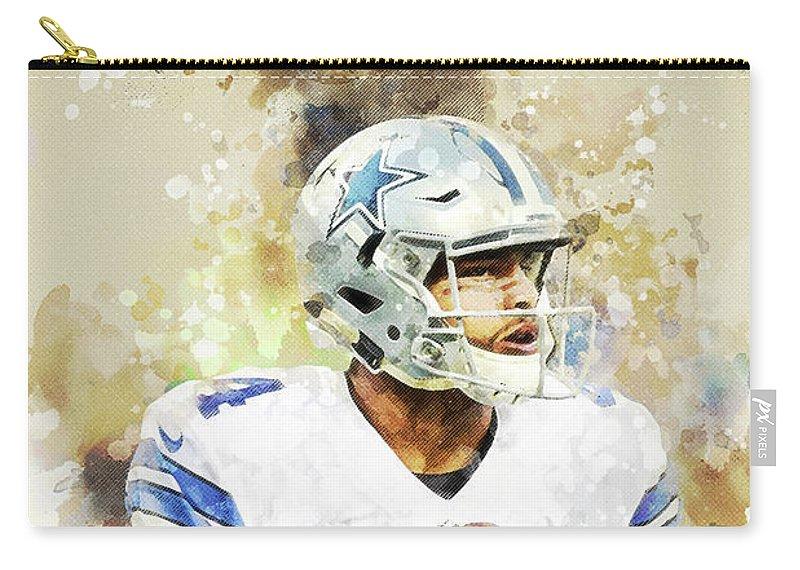Dak Prescott Carry-all Pouch featuring the digital art Dallas Cowboys.dak Prescott. by Nadezhda Zhuravleva