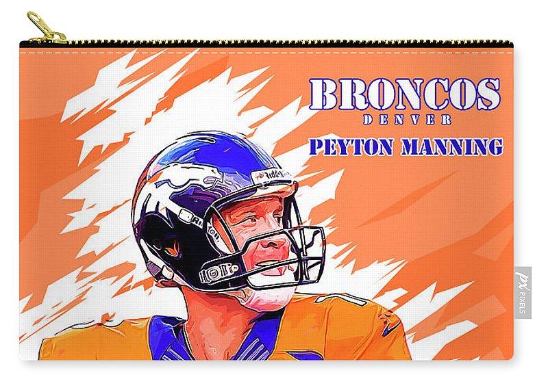 Peyton Manning Carry-all Pouch featuring the digital art Denver Broncos.peyton Manning. by Nadezhda Zhuravleva