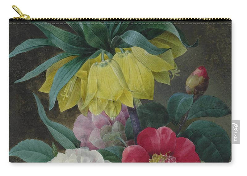 Redoute Carry-all Pouch featuring the painting Four Peonies And A Crown Imperial by Pierre-Joseph Redoute