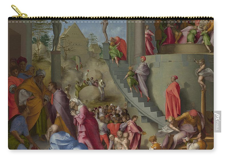 Pontormo Carry-all Pouch featuring the painting Joseph With Jacob In Egypt by Pontormo
