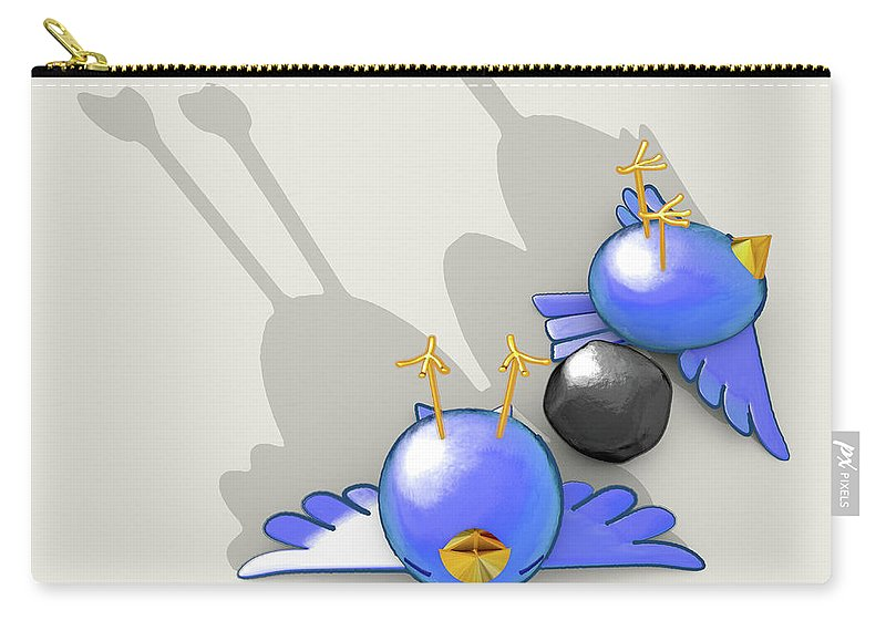 Kill Two Birds With One Stone Carry-all Pouch featuring the digital art Kill Two Bird With One Stone by Allan Swart