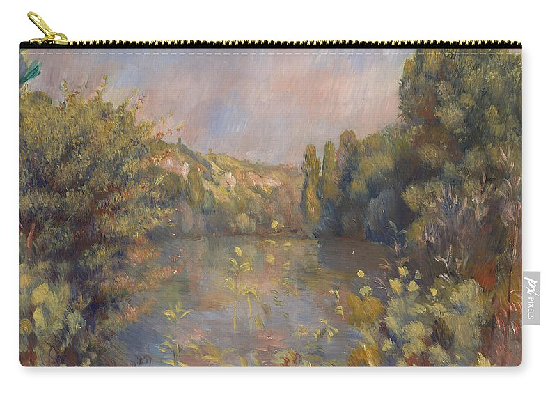 Pierre-auguste Renoir Carry-all Pouch featuring the painting Lakeside Landscape by Pierre Auguste Renoir