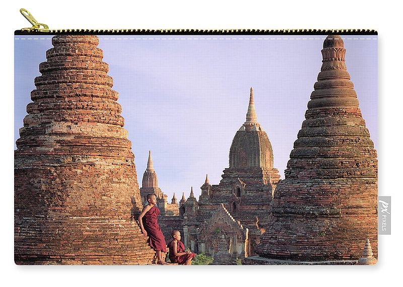 Child Carry-all Pouch featuring the photograph Myanmar, Bagan, Buddhist Monks On Temple by Martin Puddy