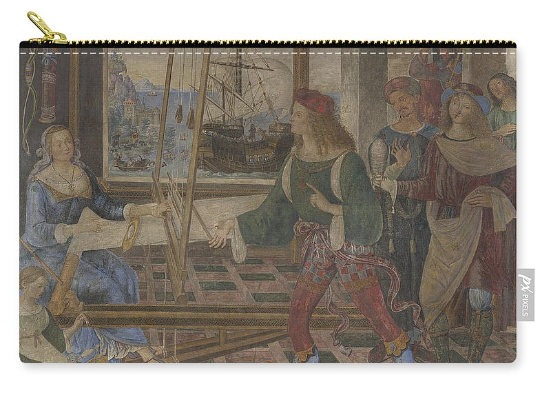Pintoricchio Carry-all Pouch featuring the painting Penelope With The Suitors by Pintoricchio