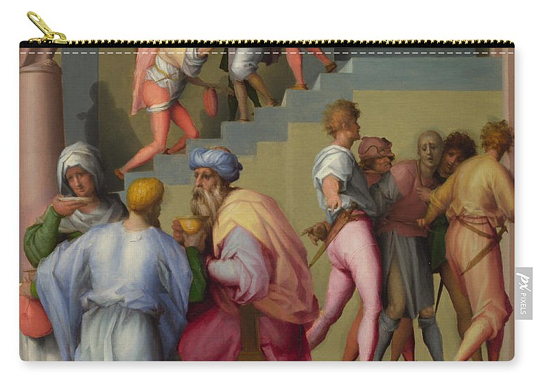Pontormo Carry-all Pouch featuring the painting Pharaoh With His Butler And Baker by Pontormo