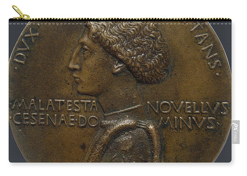 Portrait Medal Of Domenico Novello Malatesta Carry-all Pouch featuring the painting Pisanello by Portrait medal of Domenico Novello Malatesta