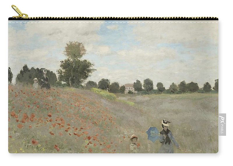 Claude Monet Carry-all Pouch featuring the painting Poppy Field by Claude Monet