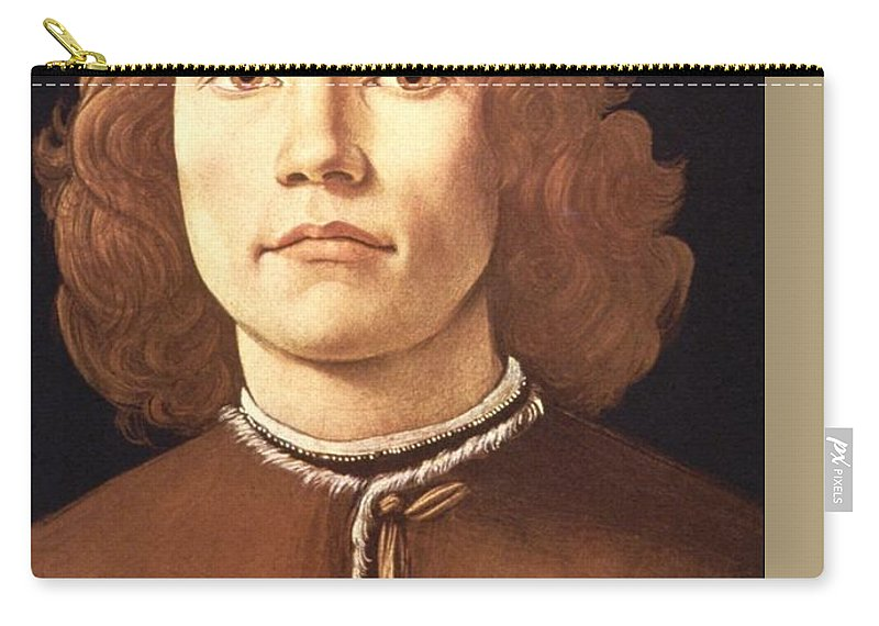 Sandro Botticelli Carry-all Pouch featuring the painting Portrait Of A Young Man by Sandro Botticelli