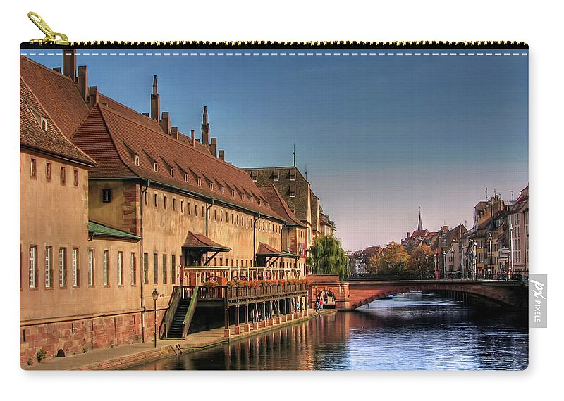 Clear Sky Carry-all Pouch featuring the photograph Strasbourg River by Michael Kitromilides