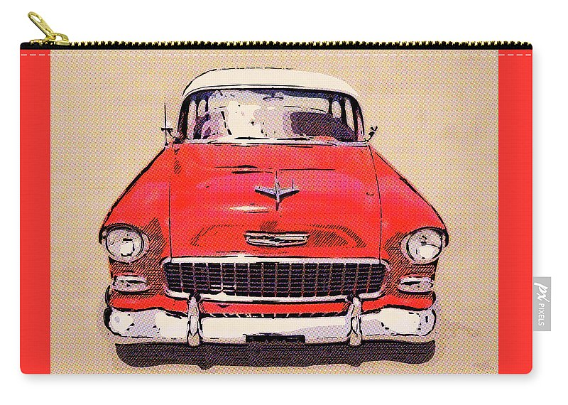 1955 Chevy Red & White Carry-all Pouch featuring the digital art 2 Tone 55 by Rick Wicker