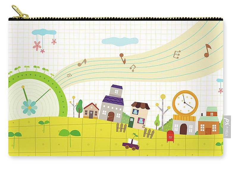Clock Tower Carry-all Pouch featuring the digital art View Of Town by Eastnine Inc.