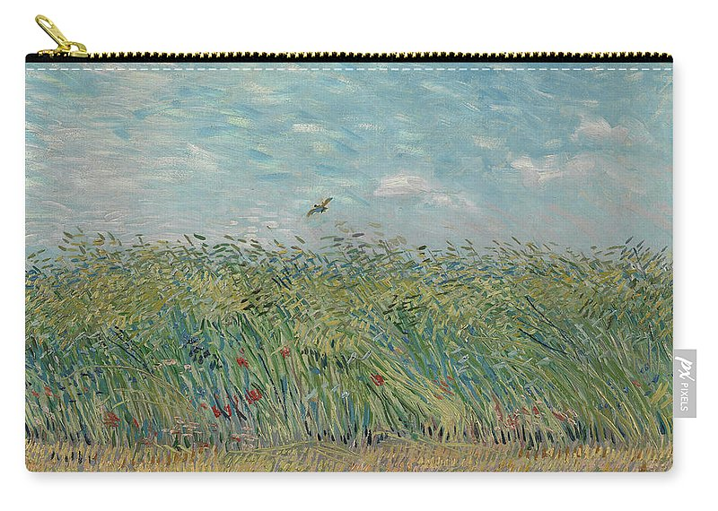 Vincent Van Gogh Carry-all Pouch featuring the painting Wheatfield With Partridge by Vincent Van Gogh