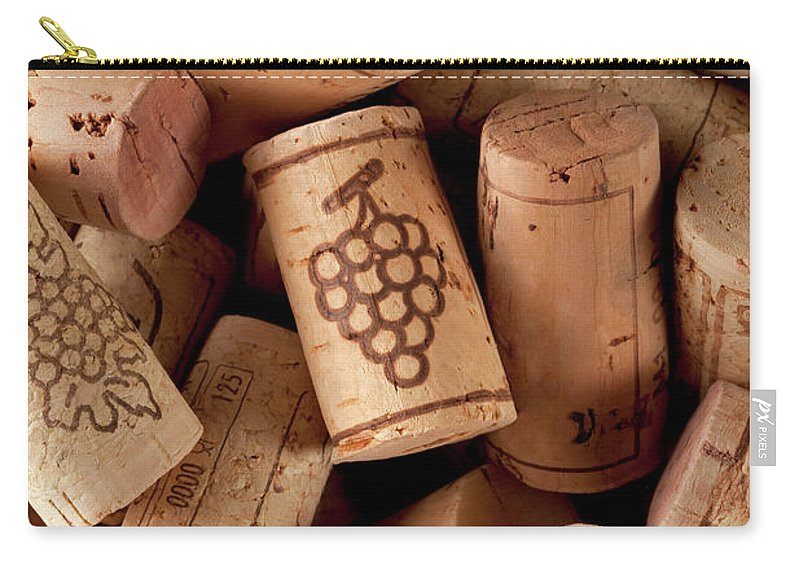 Alcohol Carry-all Pouch featuring the photograph Wine Corks by Malerapaso