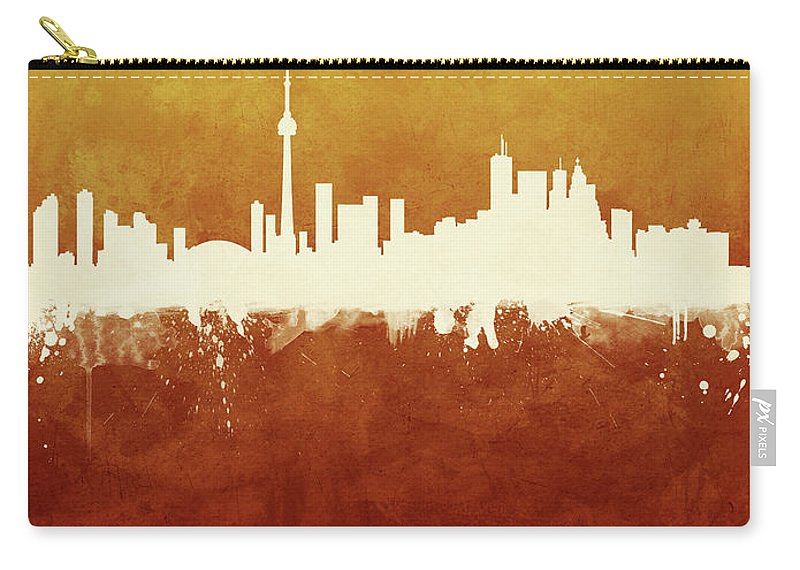 Toronto Carry-all Pouch featuring the digital art Toronto Canada Skyline by Michael Tompsett