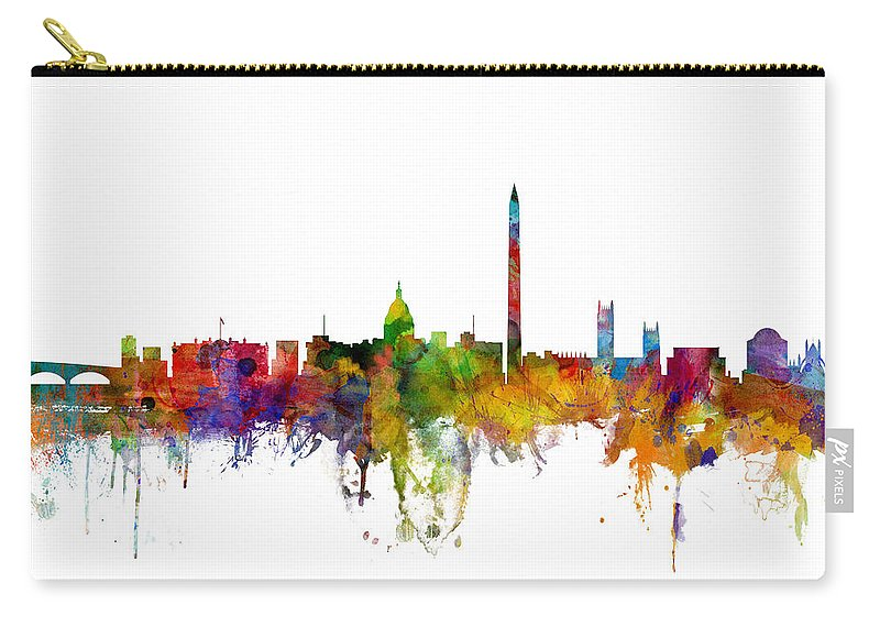 United States Carry-all Pouch featuring the digital art Washington Dc Skyline by Michael Tompsett