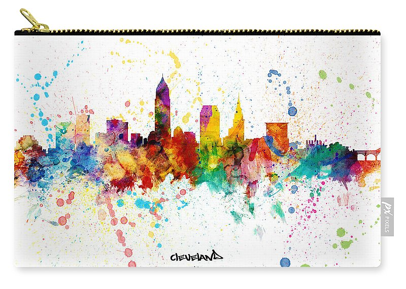 Cleveland Carry-all Pouch featuring the digital art Cleveland Ohio Skyline by Michael Tompsett
