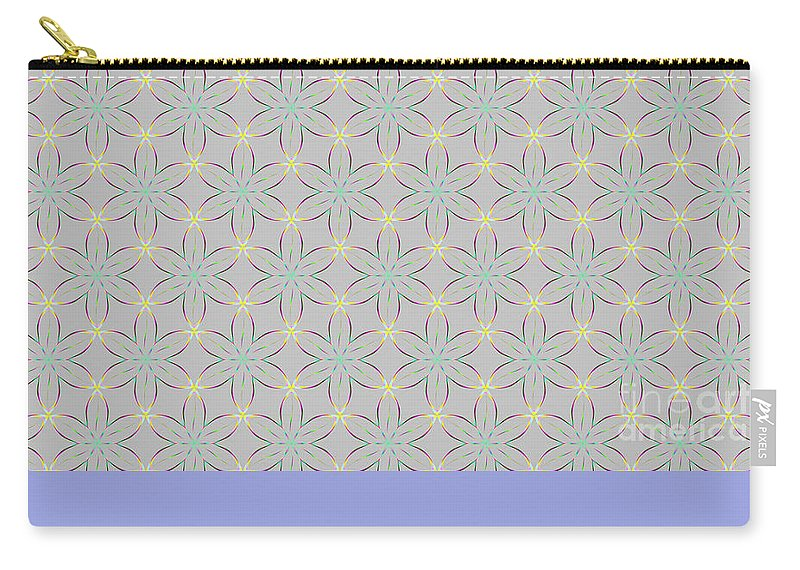 Seamless Repeating Patterns Carry-all Pouch featuring the digital art A Repeating Pattern Featuring A Multi-colored Conceptual Flower by Gossamer Fairytales