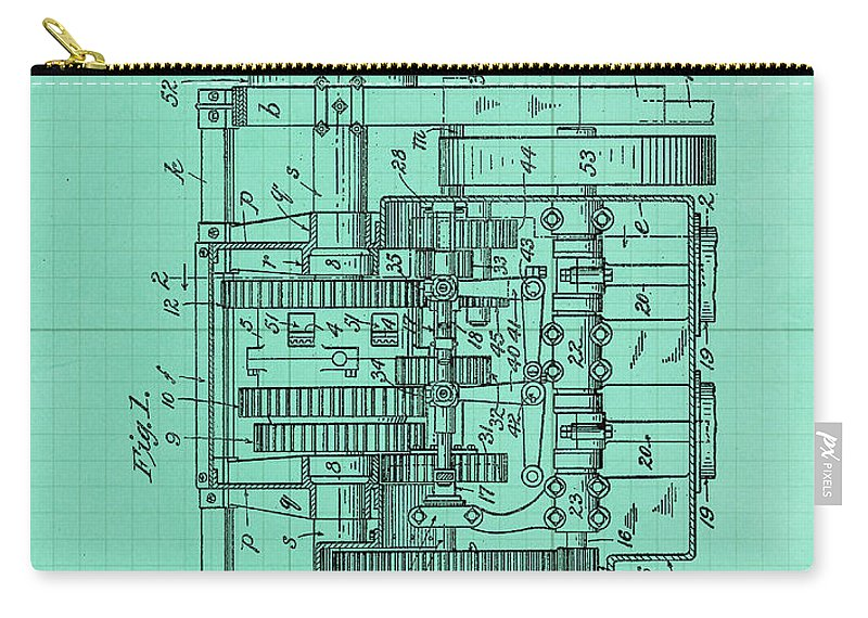 Carry-all Pouch featuring the drawing Motor Vehicle Patent Colored Vintage Art Print Year 1905 Blueprint by Drawspots Illustrations