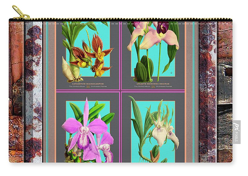 Vintage Carry-all Pouch featuring the painting Antique Orchids Quatro On Rusted Metal And Weathered Wood Plank by Baptiste Posters
