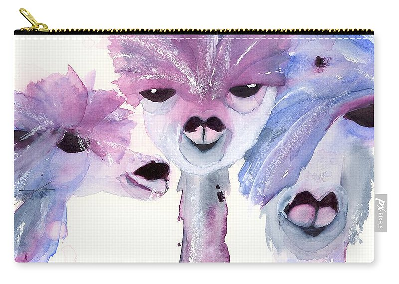 Alpaca Art Carry-all Pouch featuring the painting 3 Alpacas by Dawn Derman