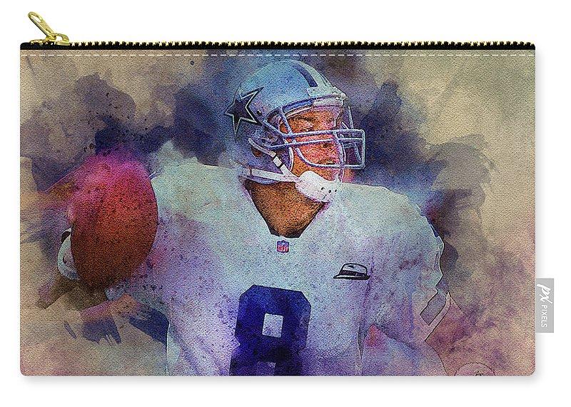 Troy Aikman Carry-all Pouch featuring the digital art Dallas Cowboys.troy Kenneth Aikman by Nadezhda Zhuravleva