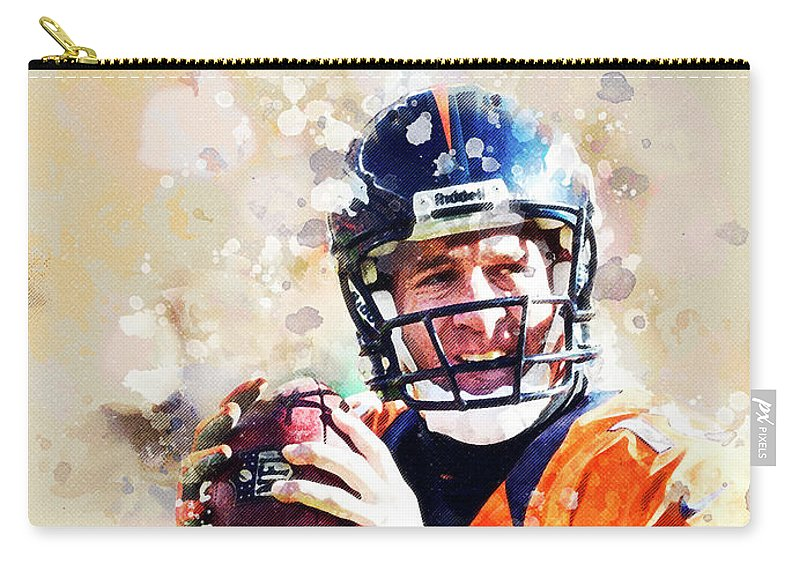 Peyton Manning Carry-all Pouch featuring the digital art Denver Broncos.peyton Manning. by Nadezhda Zhuravleva