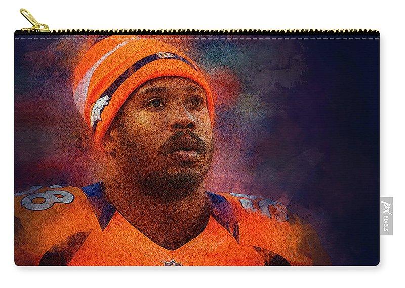Von Miller Carry-all Pouch featuring the digital art Denver Broncos.von Miller. by Nadezhda Zhuravleva
