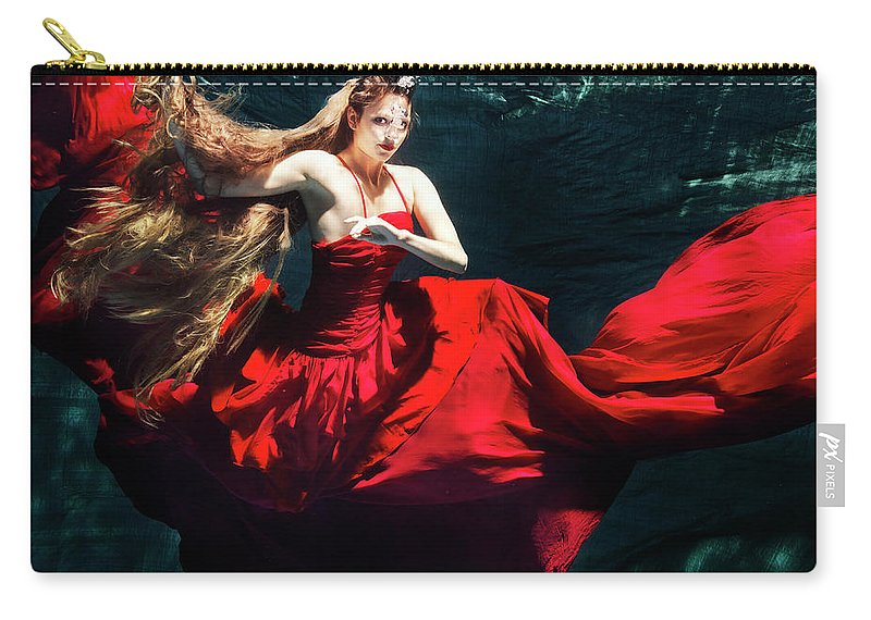 Ballet Dancer Carry-all Pouch featuring the photograph Female Dancer Performing Under Water by Henrik Sorensen