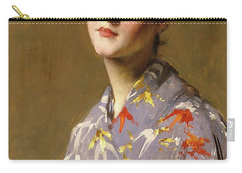 America Carry-all Pouch featuring the painting Girl In A Japanese Costume by William Merritt Chase
