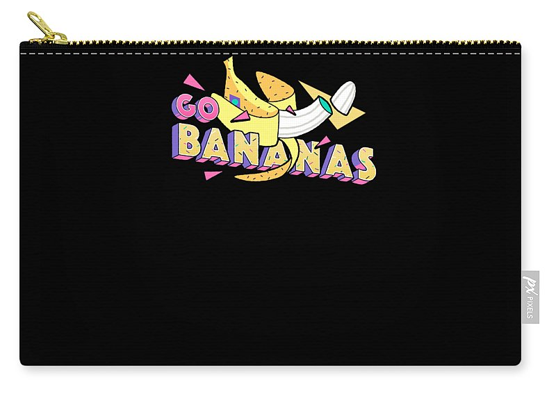 Humor Carry-all Pouch featuring the drawing Go Bananas Good Old Times Born In The 90s Retro Rustic by Cameron Fulton