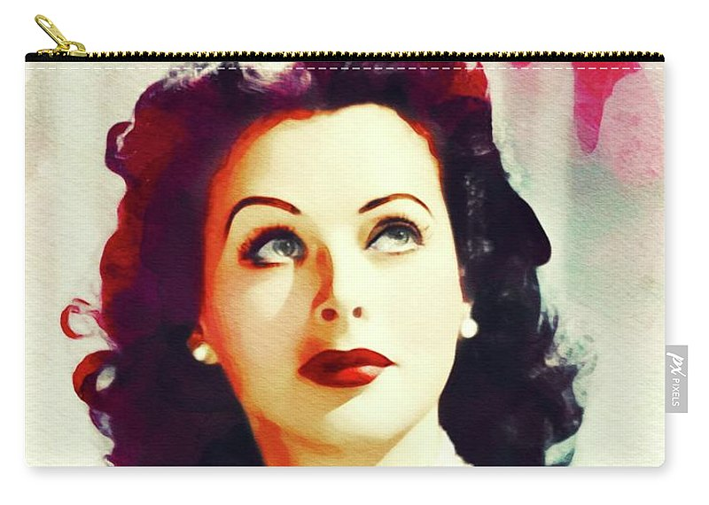 Hedy Carry-all Pouch featuring the painting Hedy Lamarr, Vintage Movie Star by John Springfield