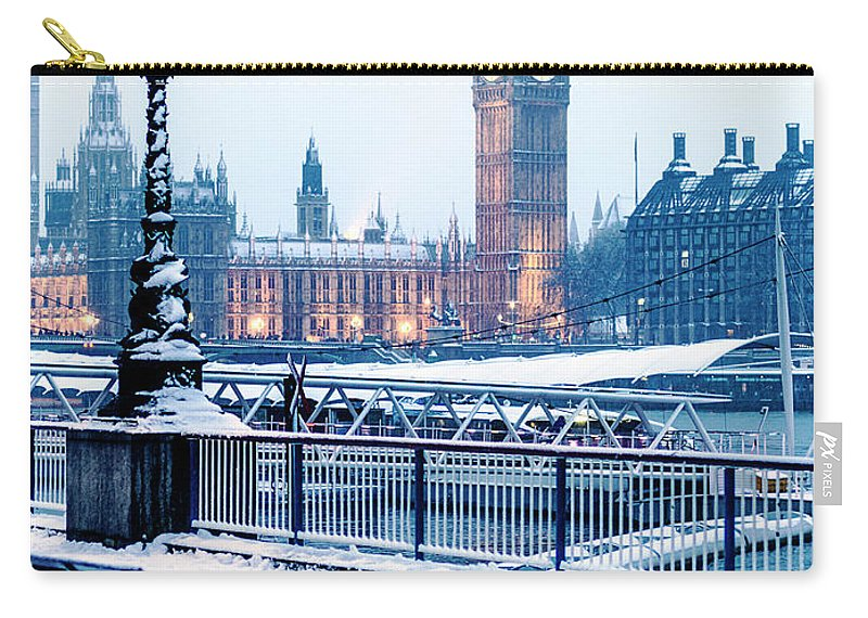 Clock Tower Carry-all Pouch featuring the photograph Houses Of Parliament In The Snow by Doug Armand