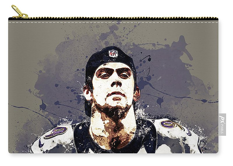 Justin Tucker Carry-all Pouch featuring the digital art Justin Tucker.baltimore Ravens by Nadezhda Zhuravleva