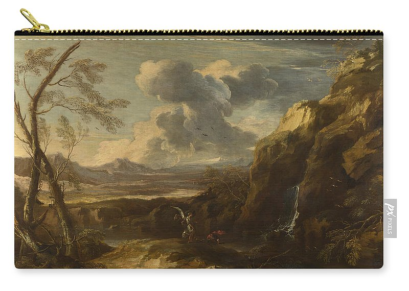 Salvator Rosa Carry-all Pouch featuring the painting Landscape With Tobias And The Angel by Salvator Rosa
