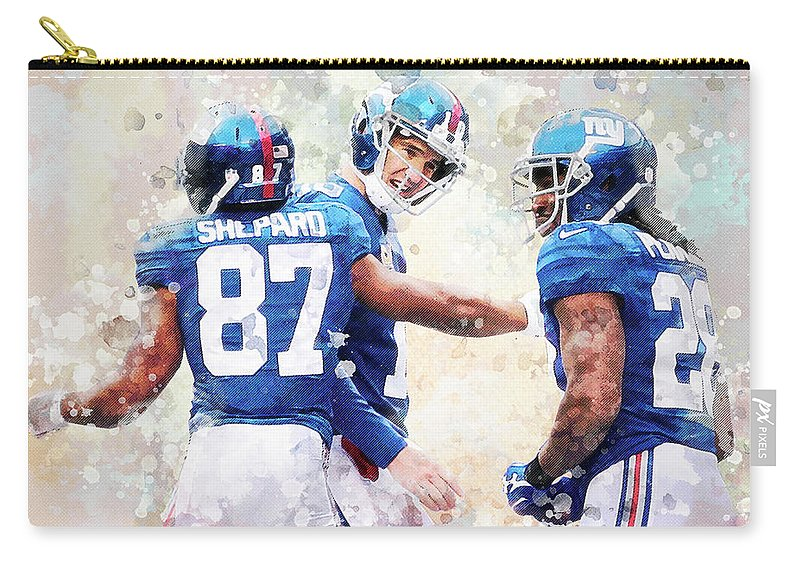 New York Giants Carry-all Pouch featuring the digital art New York Giants by Nadezhda Zhuravleva