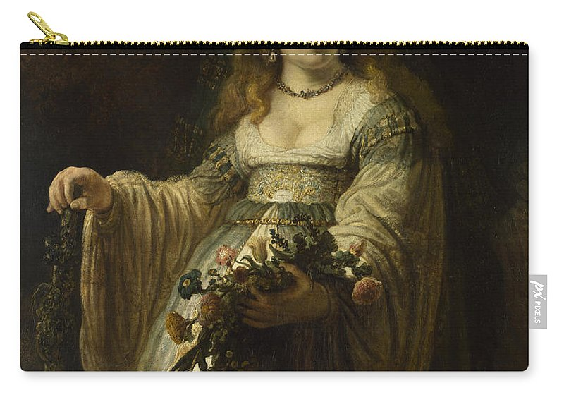 Rembrandt Carry-all Pouch featuring the painting Saskia Van Uylenburgh In Arcadian Costume by Rembrandt
