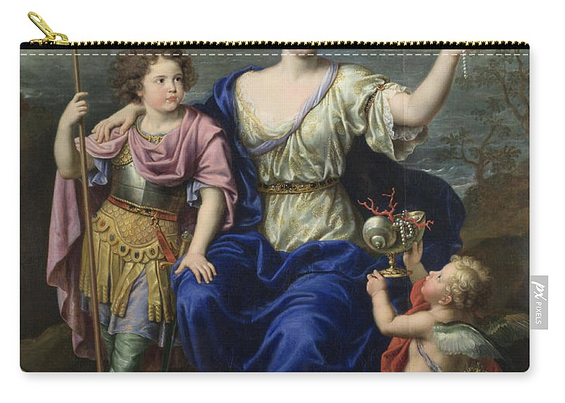 Pierre Mignard Carry-all Pouch featuring the painting The Marquise De Seignelay And Two Of Her Sons by Pierre Mignard