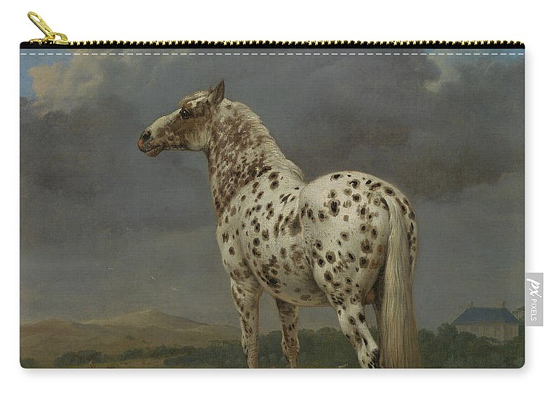 17th Century Art Carry-all Pouch featuring the painting The Piebald Horse by Paulus Potter