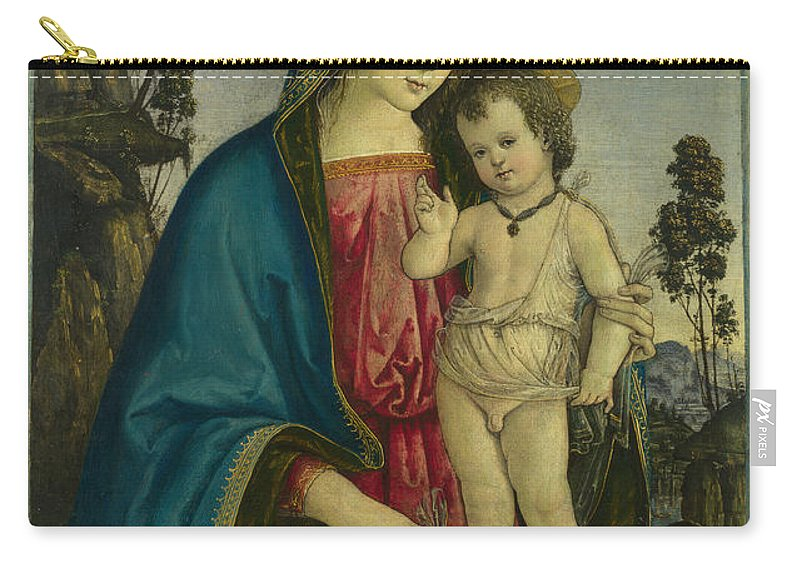 Pintoricchio Carry-all Pouch featuring the painting The Virgin And Child by Pintoricchio